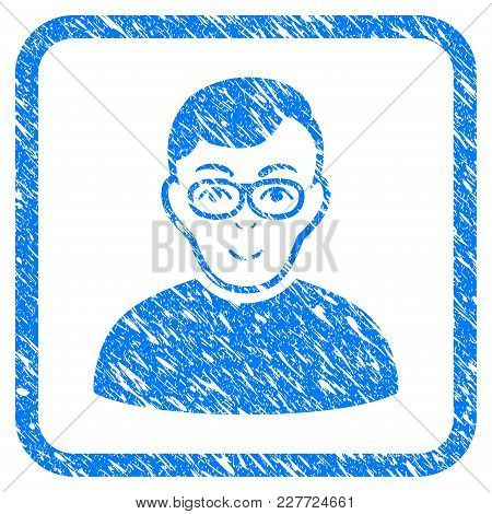 Nerd Man Rubber Seal Stamp Imitation. Icon Vector Symbol With Grunge Design And Unclean Texture Insi