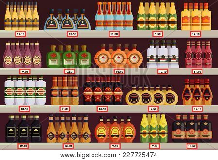 Alcohol stall or beverage stand at pub or restaurant, tavern. Booze shop or store showcase with champagne and cognac with stars, rum and martini in glassware bottle. Liquid and drink saling theme poster