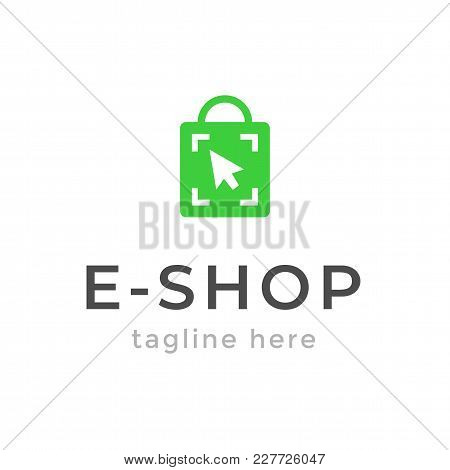 Online Shop Logo Design. Ecommerce, Sale, Discount Or Store Web Element. Company Emblem. Vector Illu