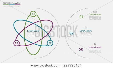 Step By Step Infographic Template. Presentation Slide With 3 Numbers Can Be Used For Workflow Layout