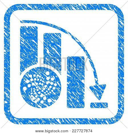 Iota Down Chart Rubber Seal Stamp Watermark. Icon Vector Symbol With Grunge Design And Dust Texture