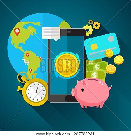 Concept Of Crypto-currency. Bitcoin Financial System Grows. Crypto Currency Hype Vector Illustration