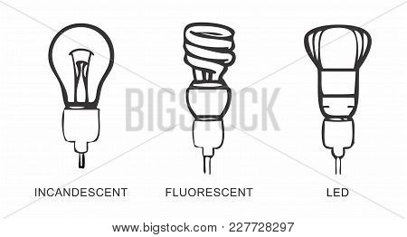 Illustrations Of Different Types Of Lamps. Black Outlines On White Background.