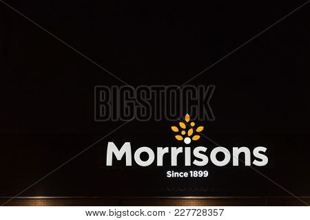 Northampton Uk January 21 2018: Morrisons Superstore Logo Sign Exterior At Night.