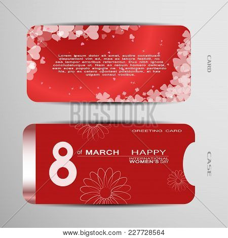 Greeting Card With Case Vector Set For Happy International Women's Day On The Gradient Red Backgroun