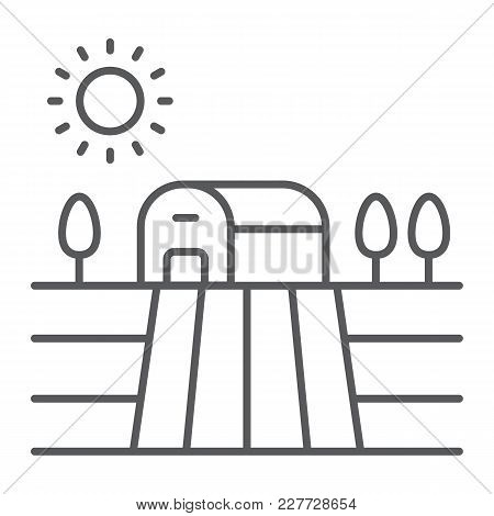 Harvest Field Thin Line Icon, Farming And Agriculture, Countryside Sign Vector Graphics, A Linear Pa