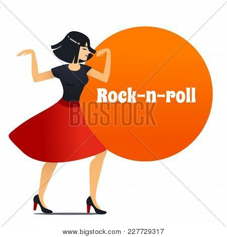 Rock-n-roll Dancer. Dancing Girl In Cartoon Style For Fliers Posters Banners Prints Of Dance School