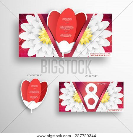 Vector Greeting Red Case With Flowers And Insert In The Form Of Red Tulip For 8 Of March - Internati