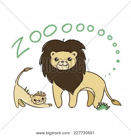 Illustration Of Doodle Cute Lions, Hand Drawn Graphic. Vector Cartoon