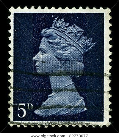 ENGLAND-CIRCA 1967:A stamp printed in England shows image of Elizabeth II (Elizabeth Alexandra Mary, born 21 April 1926) is the constitutional monarch of United Kingdom in blue, circa 1967.