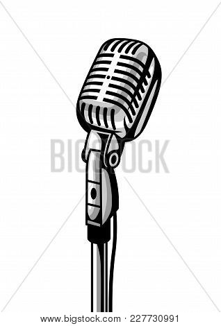 Retro Microphone Isolated On White Background. Illustration In Vintage Style.