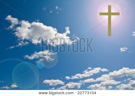 Cross In The Sky With Sun Flare Behind It