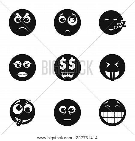 Emoji Face Icons Set. Simple Set Of 9 Emoji Face Vector Icons For Web Isolated On White Background