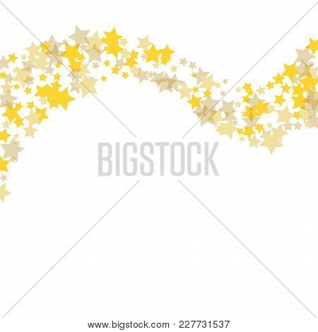 Golden Scattered Chaotically Confetti-stars On White. Luxury Festive Background. Element Of Design.
