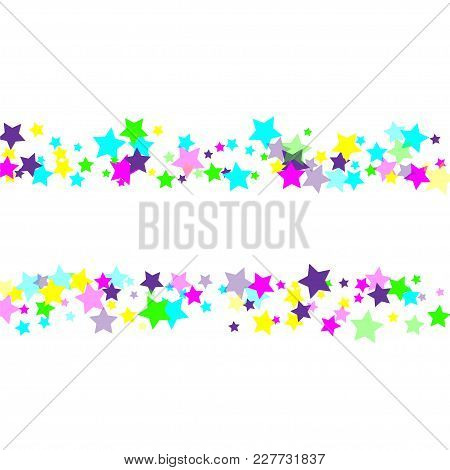Multicolored Scattered Chaotically Confetti-stars On White. Luxury Festive Background. Element Of De