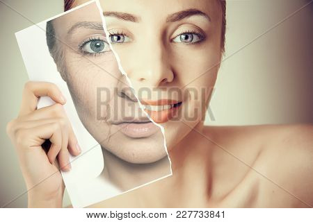 Aging Problems  Of Young  Face Skin Portrait