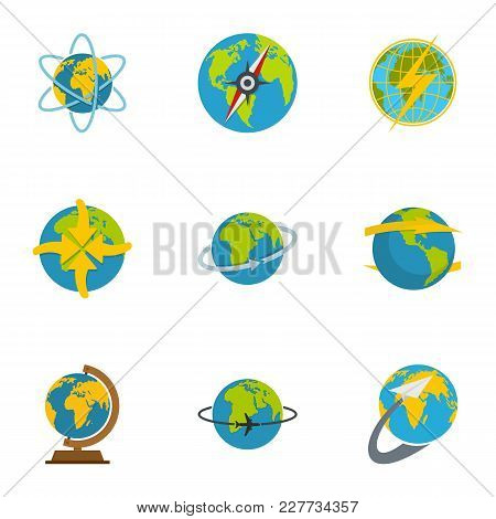 Sphere Icons Set. Flat Set Of 9 Sphere Vector Icons For Web Isolated On White Background