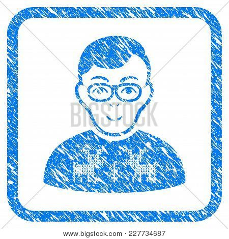 Nerd Boy Rubber Seal Stamp Watermark. Icon Vector Symbol With Grunge Design And Unclean Texture Insi