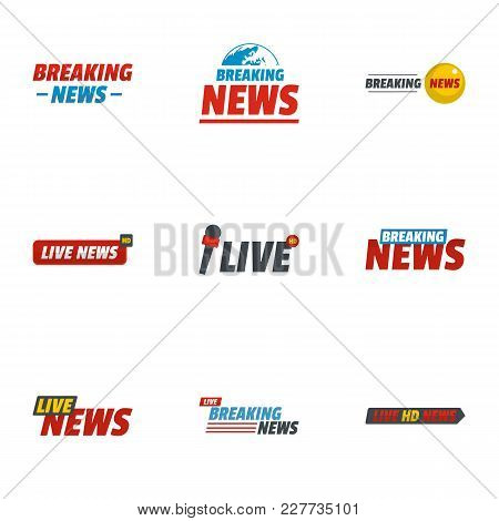News Report Icons Set. Flat Set Of 9 News Report Vector Icons For Web Isolated On White Background