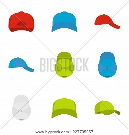 Helmet Icons Set. Flat Set Of 9 Helmet Vector Icons For Web Isolated On White Background