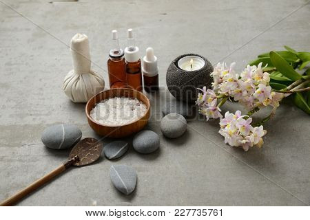 Spa setting on gray background
