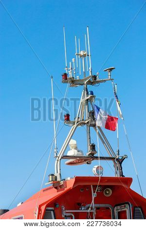La Rochelle, France - August 22, 2016:close-up Of Communication Antennas And Gps Of A Rescue Boat At