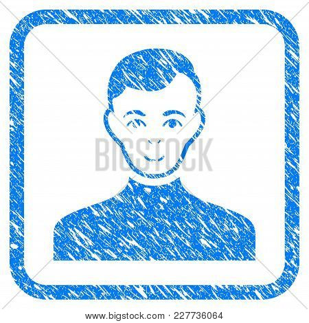 Male Rubber Seal Stamp Watermark. Icon Vector Symbol With Grunge Design And Dust Texture In Rounded