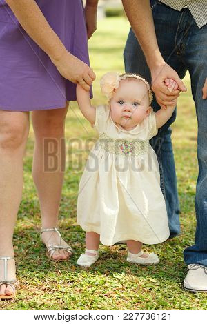 Little Baby Girl Holding Hands Of Her Mother And Father When Walking