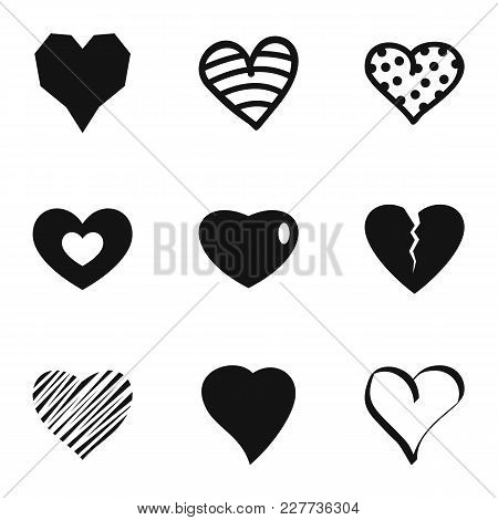 Small Heart Icons Set. Simple Set Of 9 Small Heart Vector Icons For Web Isolated On White Background