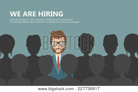 Find The Right Person For The Job Concept. Flat Vector Design