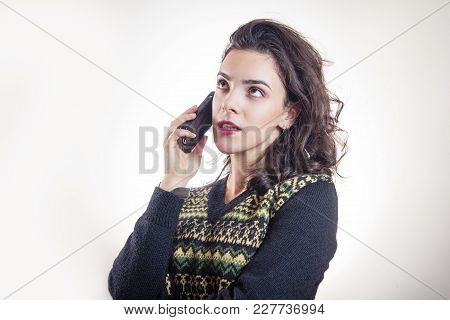 Woman Having A Boring Conversation On Her Phone