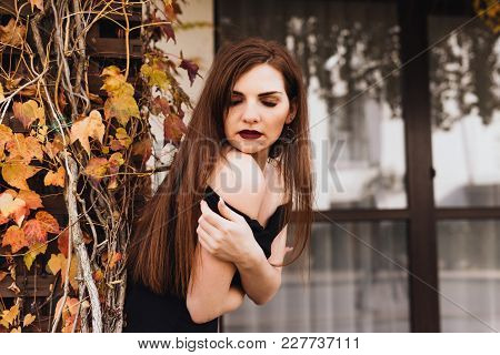 Attractive Sexy Young Woman In A Black Dress Posing, Walking Through The Garden, Enjoying A Rich And