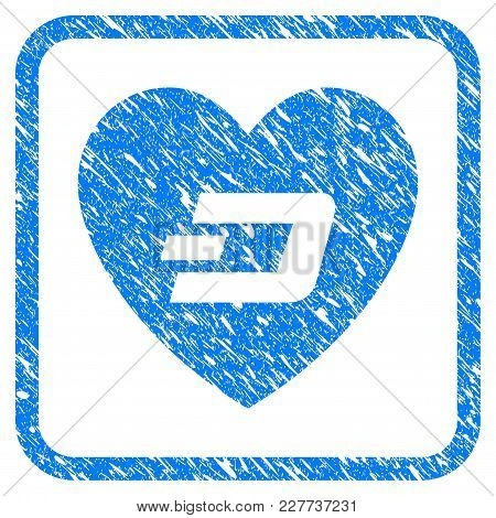 Lovely Dash Heart Rubber Seal Stamp Watermark. Icon Vector Symbol With Grunge Design And Dirty Textu