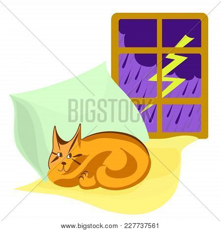 Thunderstorm Outside The Window, Cat Sleeps On Yellow And Green Pillows. Vector Cartoon Color Image.
