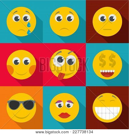 Bright Emotion Icons Set. Flat Set Of 9 Bright Emotion Vector Icons For Web Isolated On White Backgr