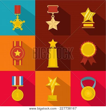 Accomplishment Icons Set. Flat Set Of 9 Accomplishment Vector Icons For Web Isolated On White Backgr