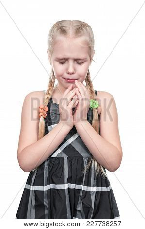 Portrait Of A Crying Beautiful Girl With Her Hands At Her Face Isolated On White Background