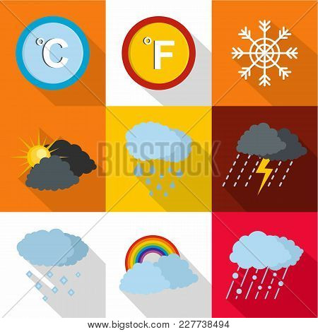Weather Intervention Icons Set. Flat Set Of 9 Weather Intervention Vector Icons For Web Isolated On