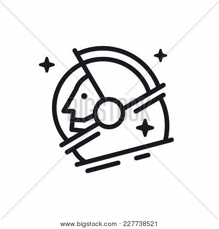 The Austronaut  Head Made In Modern Outline Style. Minimalistic Design Illustration. Vector. Flat.