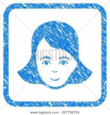 Lady Face Rubber Seal Stamp Watermark. Icon Vector Symbol With Grunge Design And Corrosion Texture I