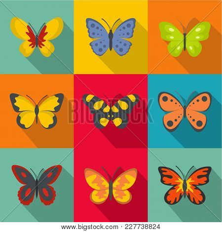 Types Of Butterflies Icons Set. Flat Set Of 9 Types Of Butterflies Vector Icons For Web Isolated On