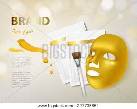 Vector Cosmetic Banner With 3d Realistic Golden Facial Mask, Brush And Package For It, Isolated On B