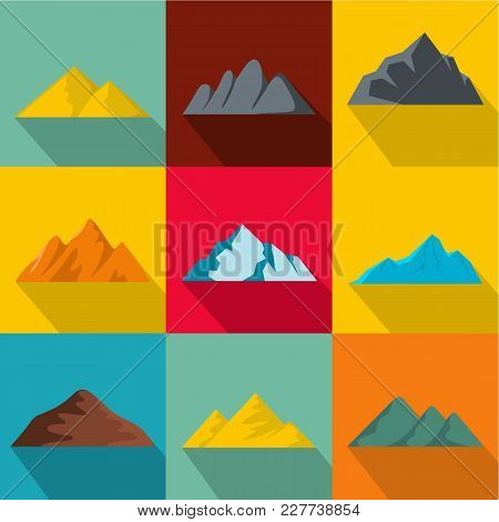 Elevation Icons Set. Flat Set Of 9 Elevation Vector Icons For Web Isolated On White Background