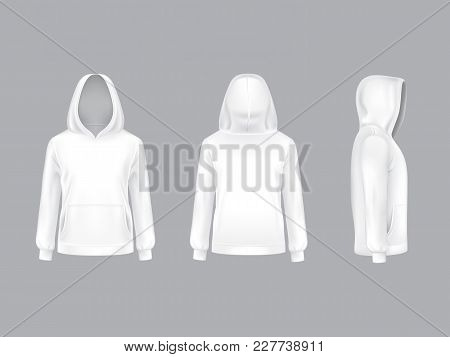 Vector 3d Realistic White Hoodie With Long Sleeves And Pockets, Casual Unisex Model, Sportswear, Swe