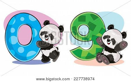 Set Of Cute Baby Panda Bears With Numbers Vector Cartoon Illustration. Clipart For Greeting Card For