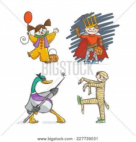 Set Of Kids In Costumes For Halloween. Lich Or Russian King Koschey, Mummy, Clown, Goose. Vector Ill