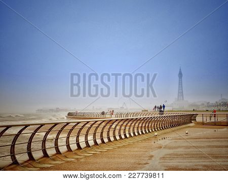 Blackpool Promenade With Tower And  Modern Railings.