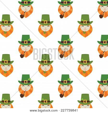 Holiday Seamless Pattern With Leprechaun, Hat And Clover. Happy St. Patrick S Day. Funny Background.