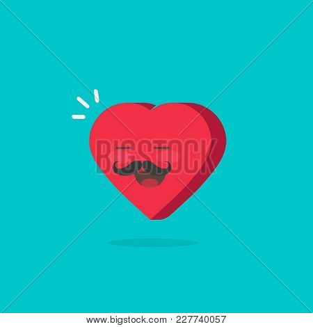 Heart Character With Happy Face Vector Illustration, Flat Cartoon Romantic Heart Boy With Moustache