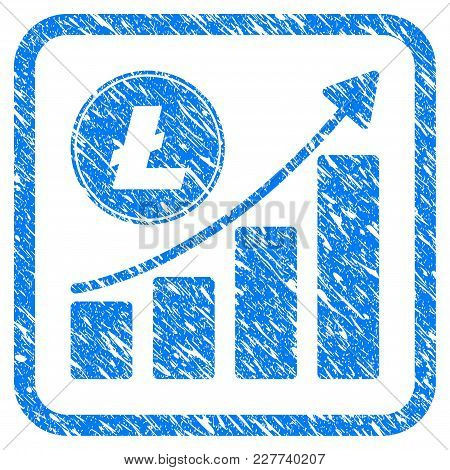 Litecoin Growing Chart Trend Rubber Seal Stamp Imitation. Icon Vector Symbol With Grunge Design And